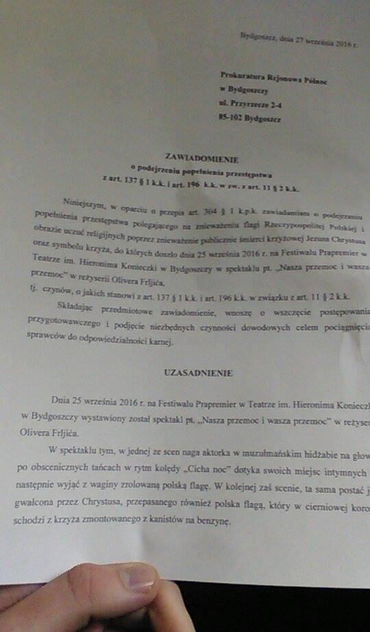 Spektakl na Prapremierach. Wojewoda i bydgoscy radni złożyli zawiadomienie do prokuratury [wideo]