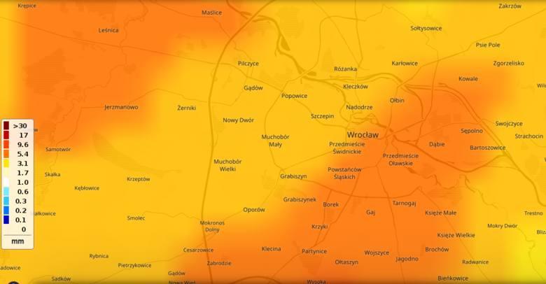 Opady deszczu w godz. 10 - 11