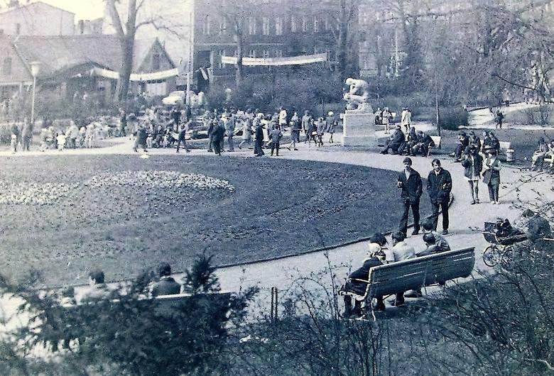 Wiosna na  skwerze przy ul. Starzyńskiego – panorama z początku lat 70. minionego stulecia