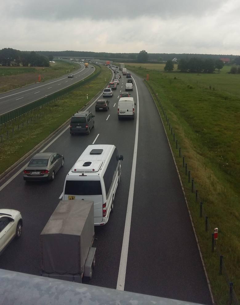 Wczorajszy korek na A1 w stronę Gdańska