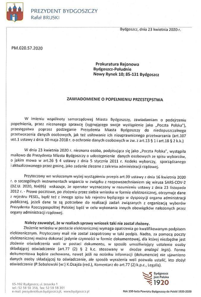 Ktoś próbuje wyłudzić dane mieszkańców? Prezydent Bydgoszczy zawiadamia prokuraturę