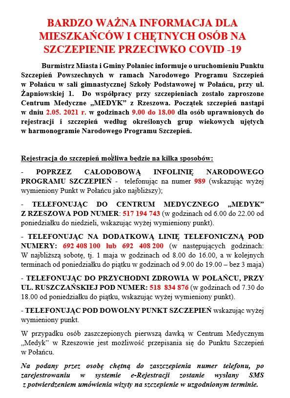 Rusza punkt szczepień masowych w Połańcu. Pierwsze dawki zostaną podane już w niedzielę
