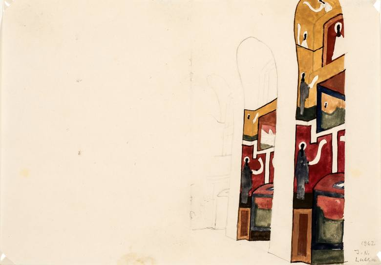 Projekt polichromii kościoła akademickiego KUL w Lublinie (ściana północna, widok od strony prezbiterium). Jerzy Nowosielski, 1962 r., tempera, ołówek, papier. <br /> Muzeum Lubelskie dziękuje Parafii Prawosławnej pw. Zaśnięcia Marii Panny w Krakowie, która jest właścicielem praw autorskich...