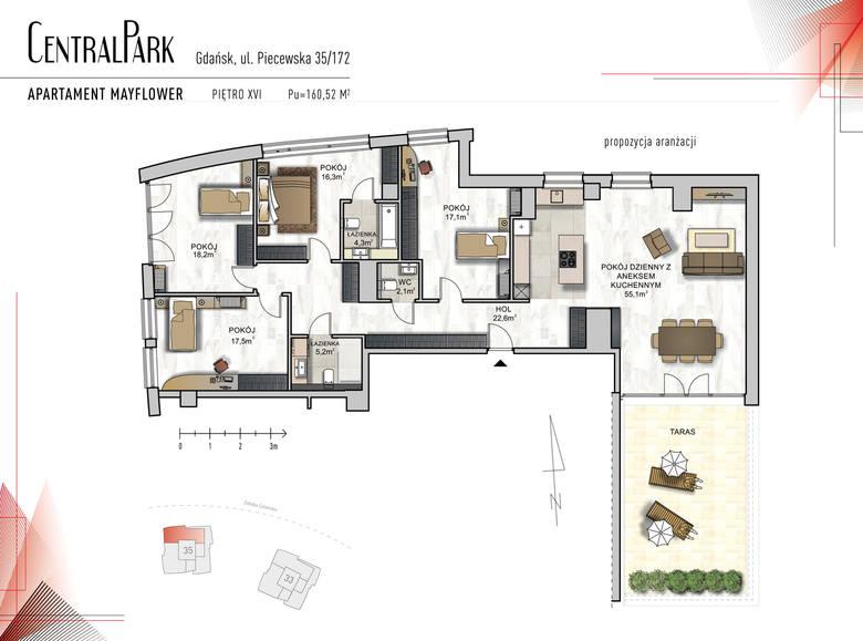 """<strong>Mayflower</strong><br /> <br /> <strong>Komfortowy ponad 160 metrowy, 5-pokojowy apartament """"Mayflower"""", z którego okien możemy podziwiać panoramę Trójmiasta i Zatokę Gdańską.</strong><br /> <br /> W strefie dziennej apartamentu znalazły się: 55-metrowy salon z aneksem kuchennym oraz wygodny pokój -..."""