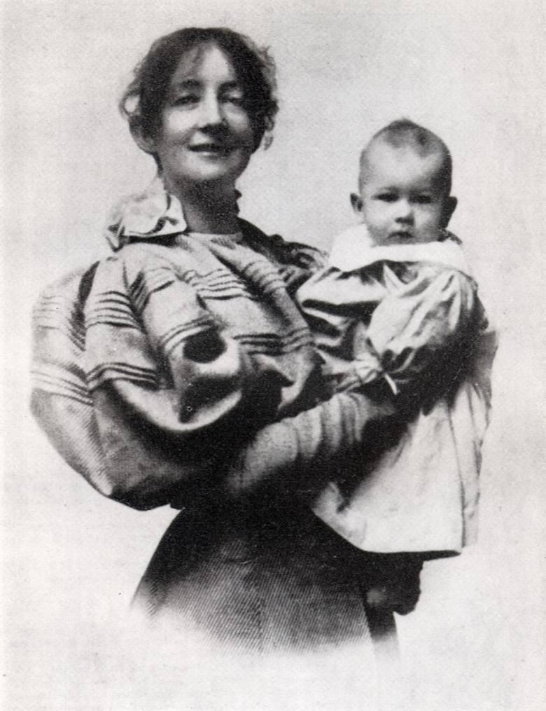 Dagny Przybyszewska - norweska pisarka, pianistka, tłumaczka, muza  wielu artystów. Na zdjęciu z synem Zenonem.