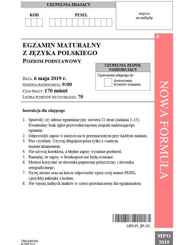 Centralna Komisja Egzaminacyjna opublikowała po godz. 14 arkusze egzaminacyjne z języka polskiego. Zweryfikujcie jak wam poszło!