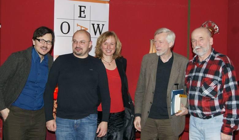 Na  spotkaniu w Berlinie : od lewej: Aleksander Filut, Siergiej Morejno, Franczeska Zwerg, Klaus Jurgen Liedtke i Wojciech Pestka