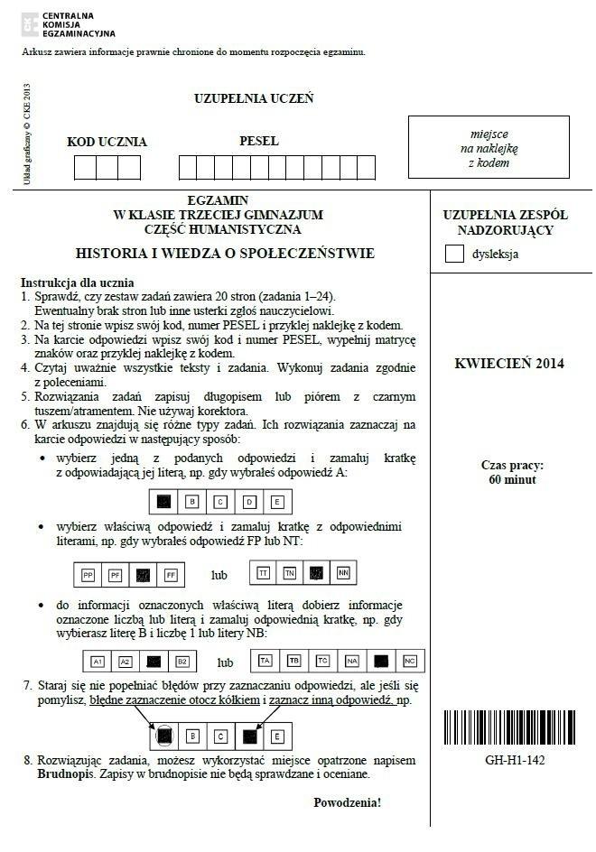 Historia sztuki gimnazjum testy