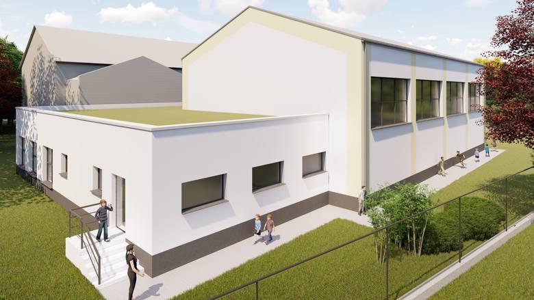 Wizualizacja rozbudowanej Szkoły Podstawowej w Janowicach. Inwestycja za 2,8 mln powinna być gotowa na początek roku szkolnego 2020/2021