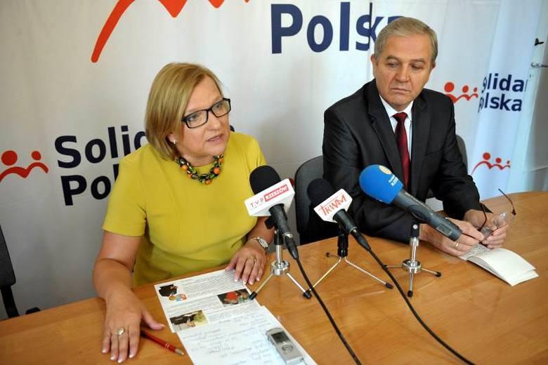 Beata Kempa i Kazimierz Ziobro podczas konferencji w Rzeszowie.