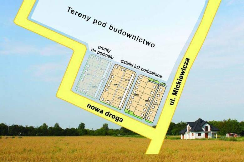 Tak wygląda podział gruntów za osiedlem Piastów Śląskich.
