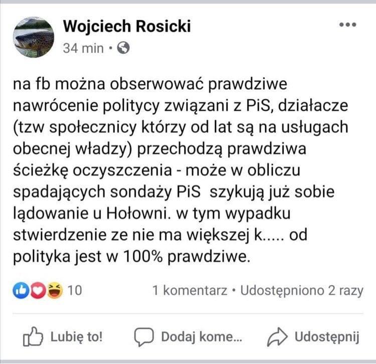 """Burza po wpisie sekretarza miasta Łodzi o """"nawróceniach w PiS"""" i """"tzw. społecznikach na usługach PiS"""". Reakcja? """"Podły kłamca"""""""