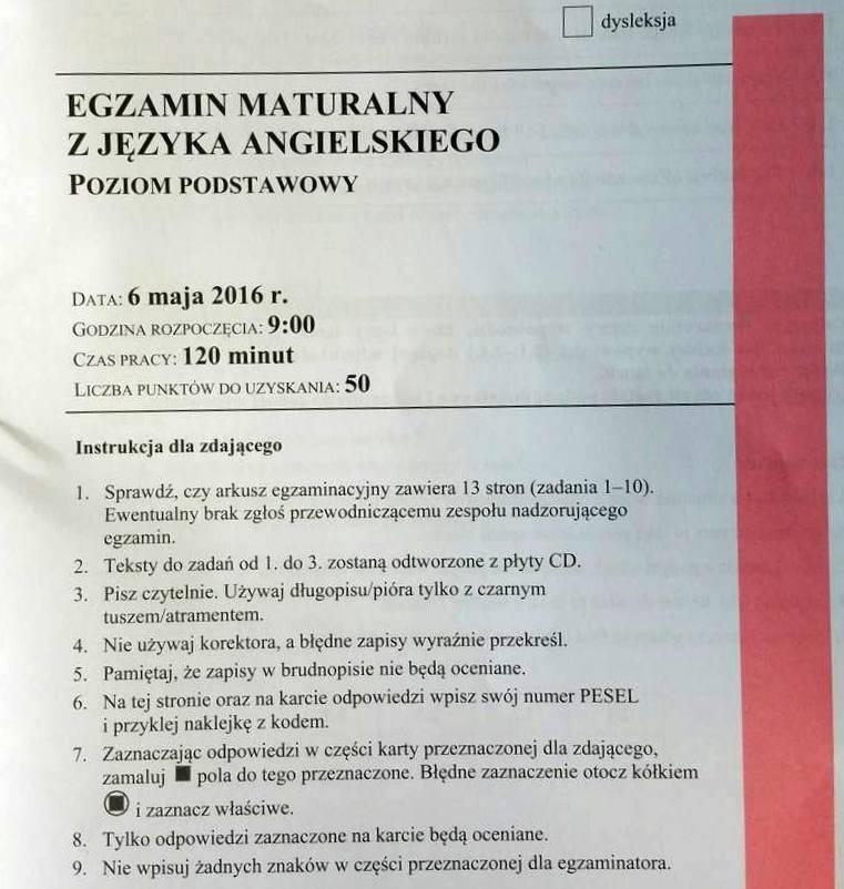 Matura 2016. JĘZYK ANGIELSKI - co było 06.05.2016? ARKUSZE CKE, PYTANIA, ODPOWIEDZI, TEMATY