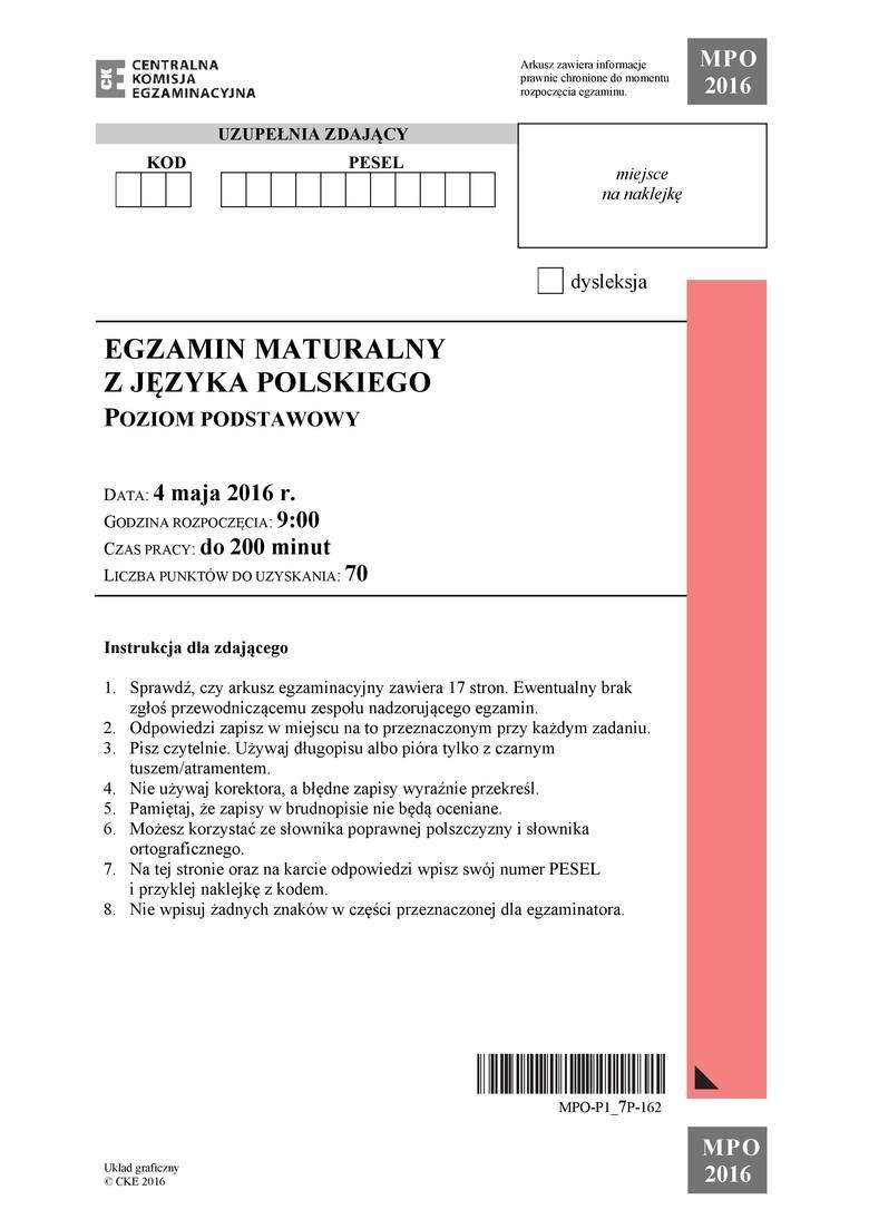 Matura Z Języka Polskiego W Mysłowicach 2016 Lalka Dziady