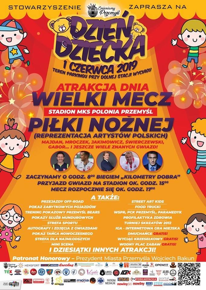 W sobotę, 1 czerwca, w Przemyślu cykl ciekawych imprez dla najmłodszych w Przemyślu. W Wielkim Meczu zagra reprezentacja artystów polskich.