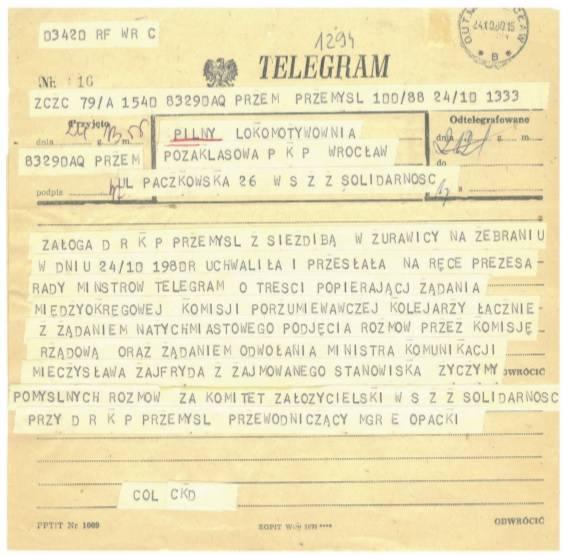 Jeden z telegramów z wyrazami solidarności skierowany do głodujących. Kopia ze zbiorów Kamila Dworczaka