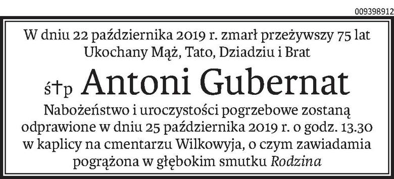 Nekrologi i Kondolencje z dnia 24 października 2019 roku