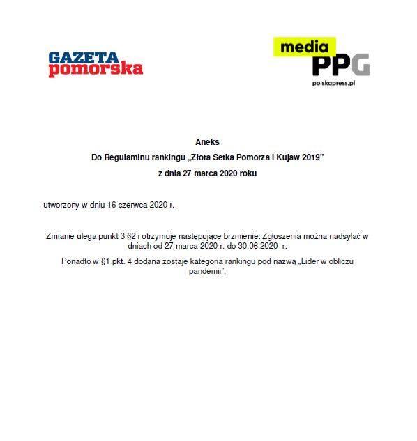 Złota Setka Pomorza i Kujaw 2019 - Regulamin [plik pdf]