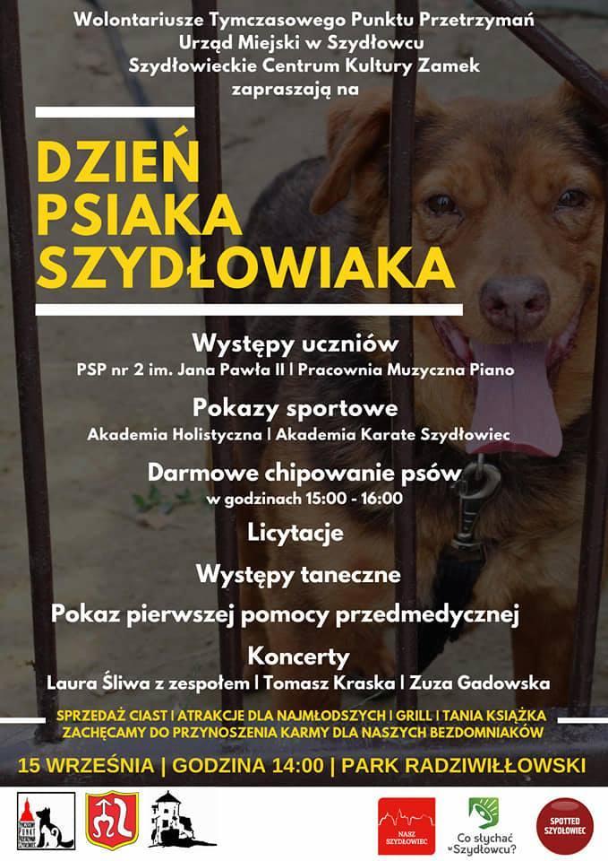 Dzień poświęcony psom z Punktu Przetrzymań w Szydłowcu. Zagra Zuza Gadowska. Będzie mnóstwo atrakcji