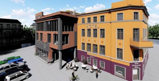 Wizualizacje rozbudowanego hotelu Retro w Zielonej Górze i okolice dworca PKP