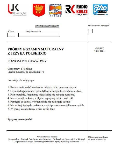 Próbna matura 2019 z języka polskiego Echa Dnia ARKUSZ