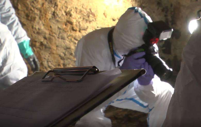 Ekipa policyjna w piwnicy domu w Debrznie dokumentuje miejsce ukrycia ciała 20-letniej Angeliki J.