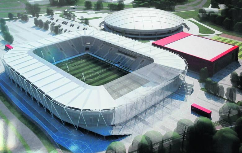Tak według projektu mają wyglądać nowy stadion i hala przy al. Unii. Nie wiadomo jednak czy tam powstanie