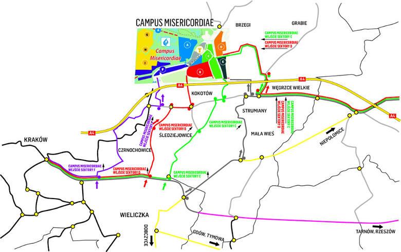 Pielgrzymi pójdą do sektorów od Wieliczki, Krakowa, Niepołomic i Gdowa