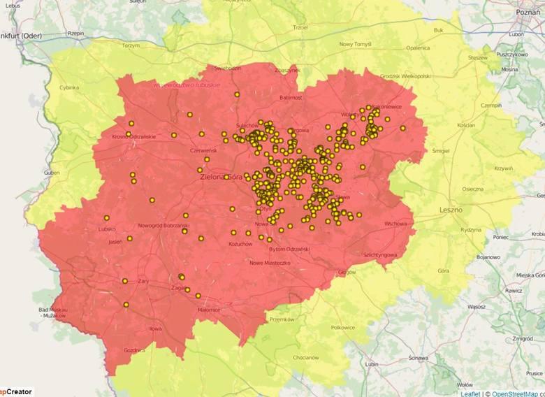 Tak wygląda mapa występowania ASF u dzików w naszym regionie od początku 2020 r.