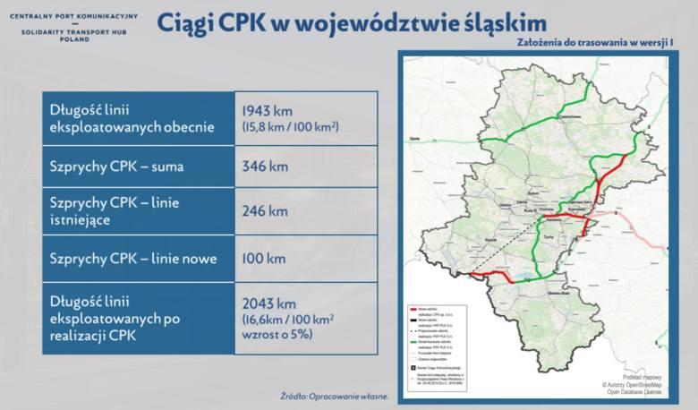 CKP i kolej w woj. śląskim, plany - mapa z dokumentu przygotowanego do konsultacji w woj. śląskim