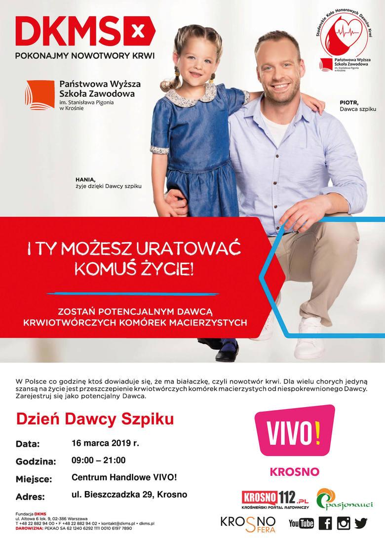 Dzień Dawcy Szpiku w krośnieńskiej galerii VIVO! Każdy chętny będzie mógł zarejestrować się w bazie DKMS
