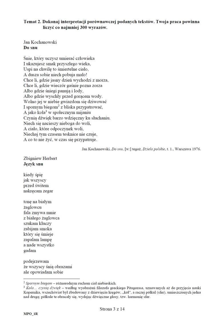 Matura 2020 j. polski rozszerzony. Arkusz CKE. Jakie tematy? Praca nt. tekstu Chrząstowskiej oraz analiza wierszy Kochanowskiego i Herberta