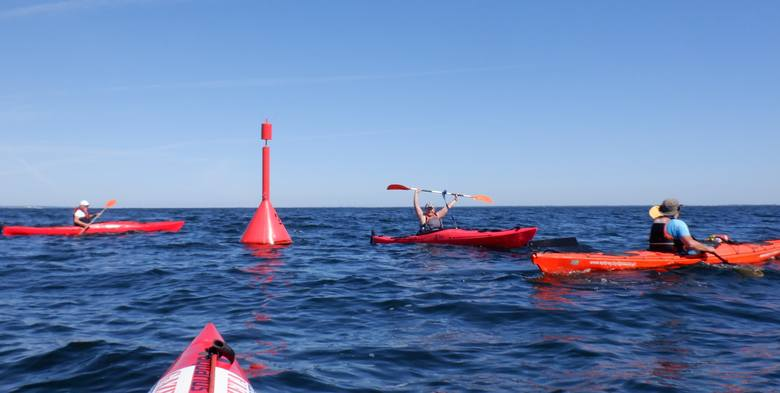 Cypel Rewski oddziela od Rybitwiej Mielizny głębina o szerokości ok. 5 kilometrów. Tor żeglugowy nad głębiną wyznaczają boje