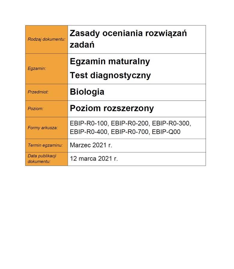 MATURA PRÓBNA - BIOLOGIA ROZSZERZONA - ODPOWIEDZI >>>;nf