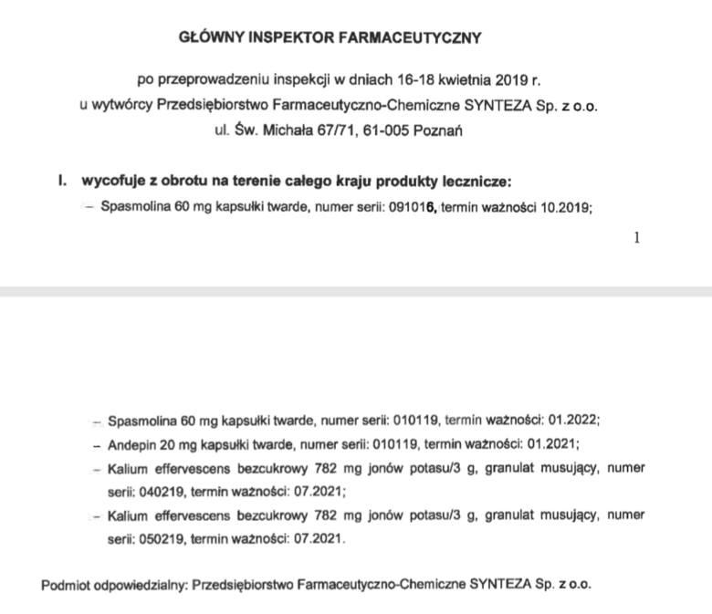 Uwaga, GIF wycofuje popularne leki! Chodzi m.in. o Spasmolinę i Andepin