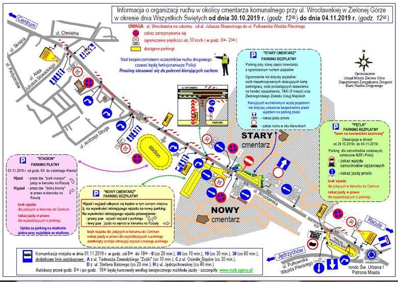 Zmiany w organizacji ruchu w okolicy cmentarza przy ul. Wrocławskiej w Zielonej Górze. Sprawdź, gdzie zaparkujesz