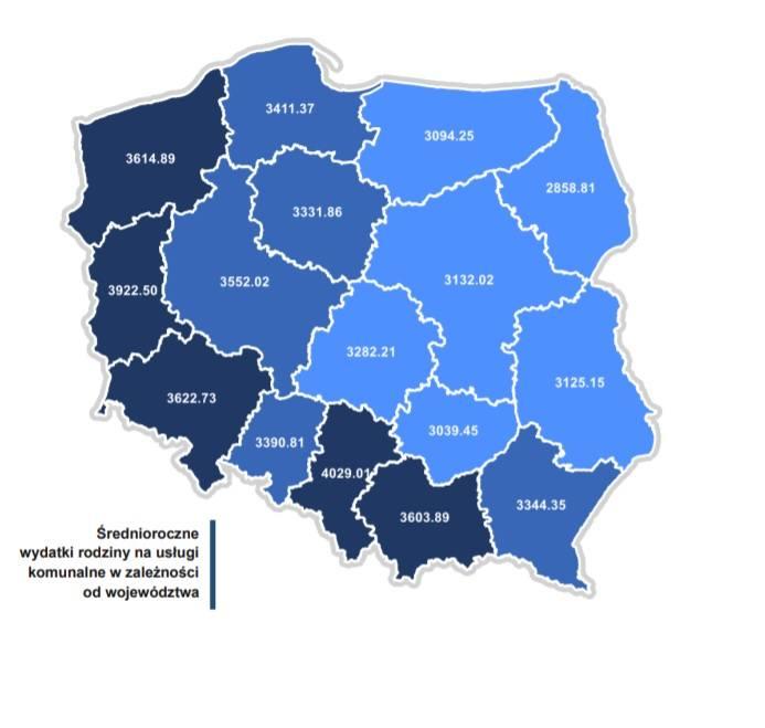 Ranking 2020 - Wydatki mieszkańców na usługi komunalne w miastach powiatowych