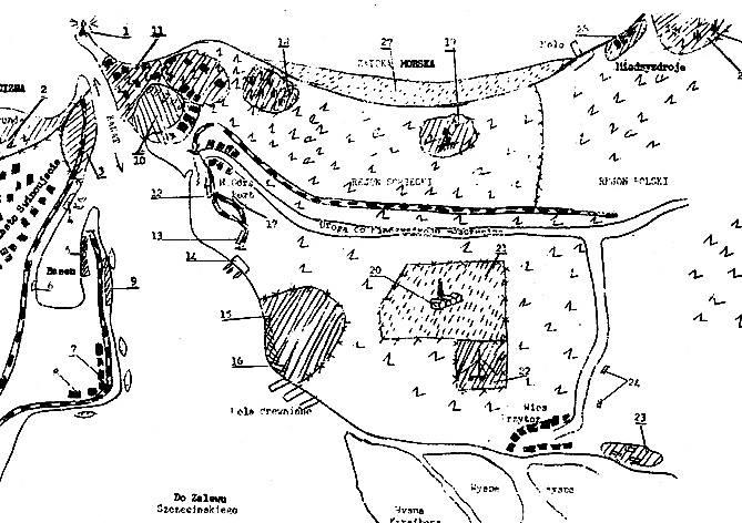 Szkic całego terenu z umiejscowieniem poszczególnych obiektów i opisem, przesłane CIA.