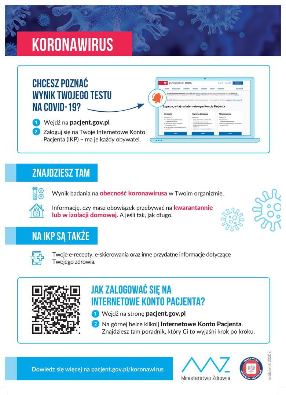 Informacja o kwarantannie lub izolacji na Internetowym Koncie Pacjenta