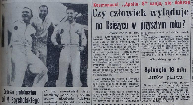 Po locie Apolla 8, Dziennik Zachodni z 29/30 grudnia 1968