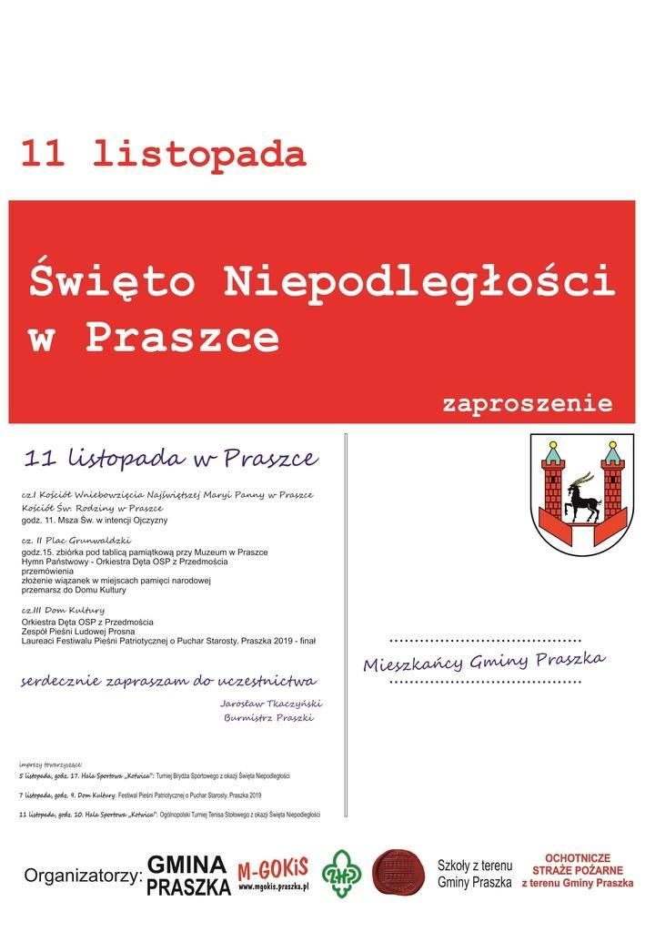 Program uroczystości w Praszce.
