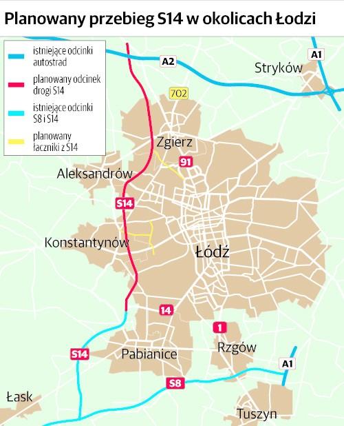 Planowany przebieg drogi S14 koło Łodzi