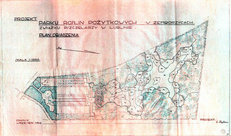 """Mapa projektu """"Parku roślin pożytkowych w Zemborzycach"""" Związku Pszczelarzy w Lublinie z roku 1946. Jej autorem był inż. E. Zybar z Gdańska."""
