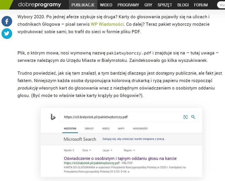 Pakiet wyborczy w PDF. Pobierz i wydrukuj [Wybory prezydenckie 2020]. Plik został zamieszczony na stronie s3.bialystok.pl