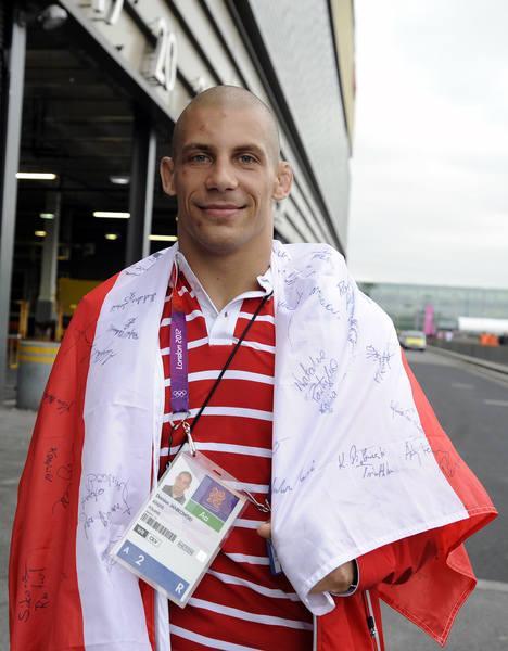Zapaśnik Damian Janikowski, który zdobył brązowy medal na Igrzyskach w Londynie.