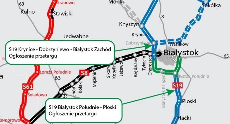Zielonym kolorem zaznaczono przebieg południowo-zachodniej obwodnicy Białegostoku z odnogą wschodnią do Grabówki. To dwa odcinki. Pierwszy Białystok