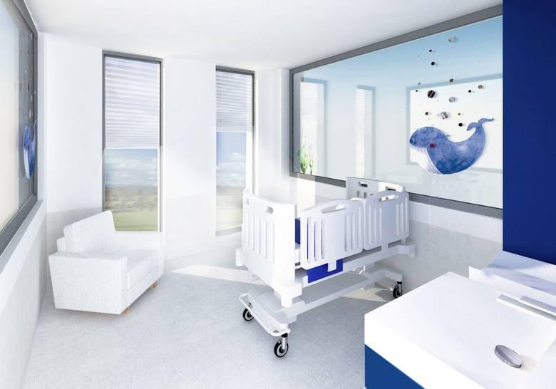 W każdej sali znajdzie się rozkładany fotel lub sofa dla opiekuna małego pacjenta, a w salach, gdzie przebywać będą najmłodsze dzieci - kącik higieniczny z przewijakiem i szafką na drobiazgi.