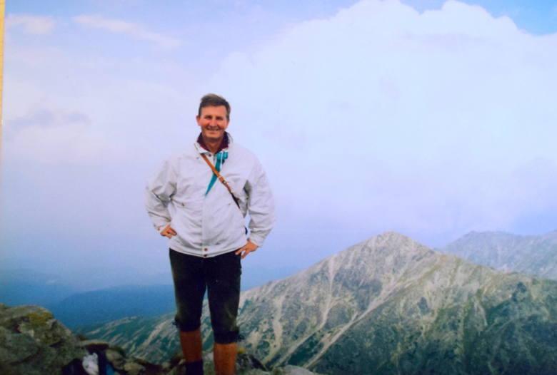 13 września 1997 rok. Józef Kaźmierczak na Kościelcu. Jest to szczyt w Dolinie Gąsienicowej w Tatrach Wysokich o wysokości 2.156 m<br />