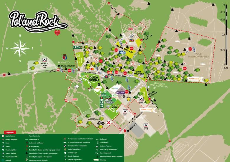 Tak wygląda mapa Pol'and'Rock Festiwalu 2019.