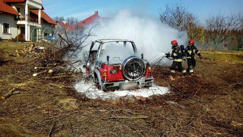 W sobotę po godz. 12 dwa zastępy strażaków wyjechały do pożaru w Ostrowie pod Przemyślem. Na jednej z posesji zapalił sięsamochód osobowy suzuki z instalację